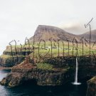 Digital Photo Wallpaper Background Screensaver Desktop-Village on the ocean cliff waterfall
