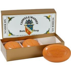 Caswell-Massey NUMBER SIX BATH SOAP #6 citrus bergamot rosemary 3-soaps set