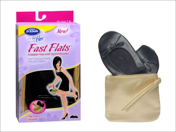 NEW Dr Scholl's For Her FAST FLATS Foldable Flexible BLACK Shoes + Gold Wristlet Purse Bag SIZE 5-6