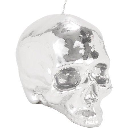 imperfect DL & Company MEMENTO MORI LUSTROUS Metallic SILVER Medium SKULL CANDLE gothic goth