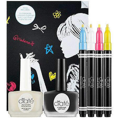 Ciaté CHALKBOARD MANICURE Matte Top Coat/Chalk Color Pens/Chalk Board Paint Pot NAIL SET ciate