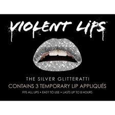 VIOLENT LIPS Temporary Lip Tattoos SILVER GLITTERATTI set of 3 Sparkle/Shine/Glitter/Metallic BOLD