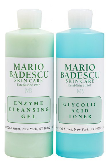 Mario Badescu Skin Care non-foaming ENZYME CLEANSING GEL + GLYCOLIC ACID TONER Travel Facial SET NEW