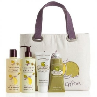 Crabtree & Evelyn CITRON HONEY & CORIANDER Lux Tote Gift Set HAND RECOVERY TREATMENT CREAM WASH