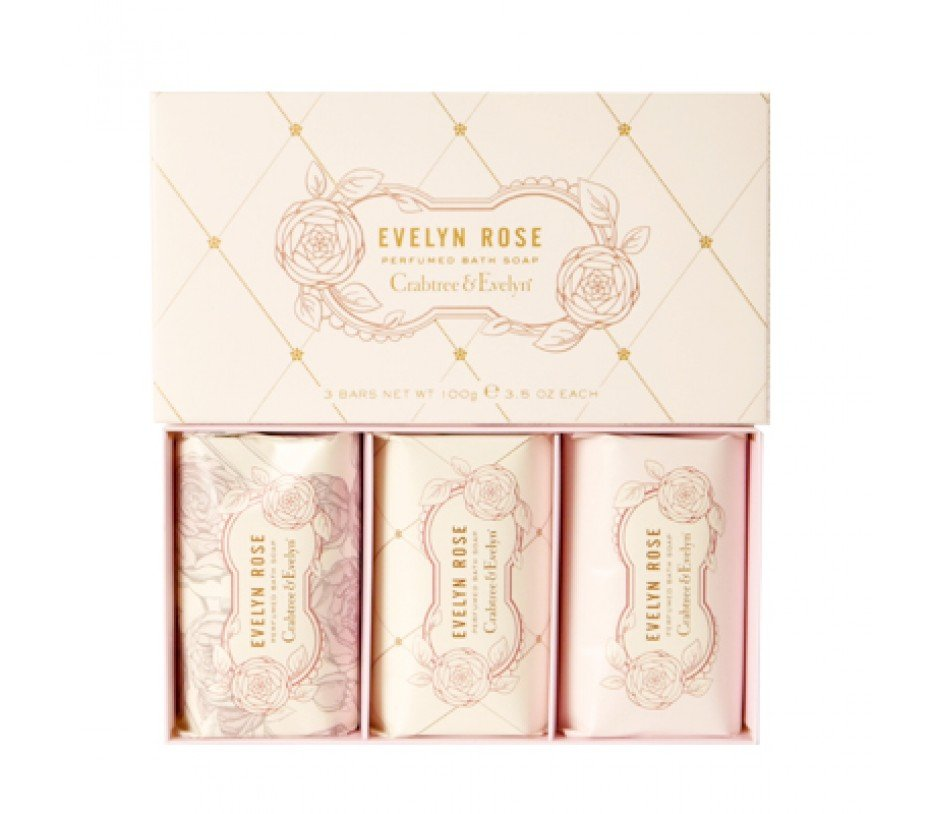 Crabtree & Evelyn classic EVELYN ROSE Perfumed Triple-Milled BATH scented fragrance bar SOAP