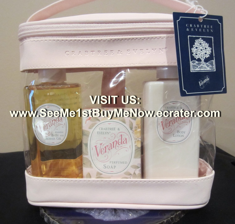 discontinued vintage Crabtree & Evelyn London VERANDA Body Lotion PERFUME SOAP Bath Shower Gel SET