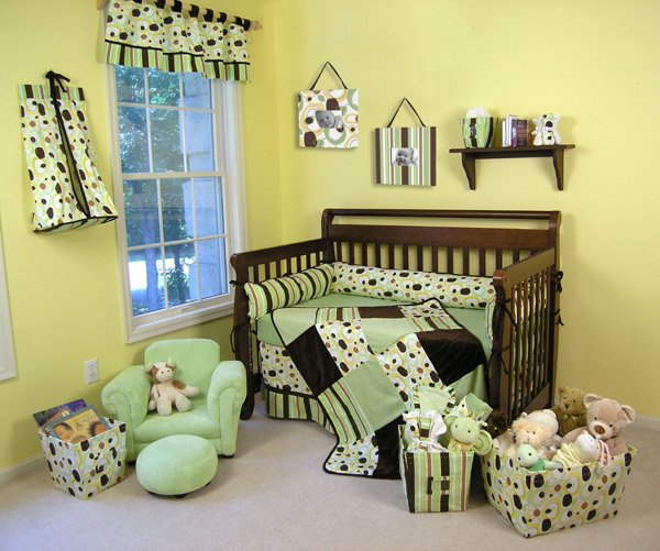 Giggles Modern Green & Brown 5-Piece Crib Bedding Set - Trend Lab -  ! FREE SHIPPING !