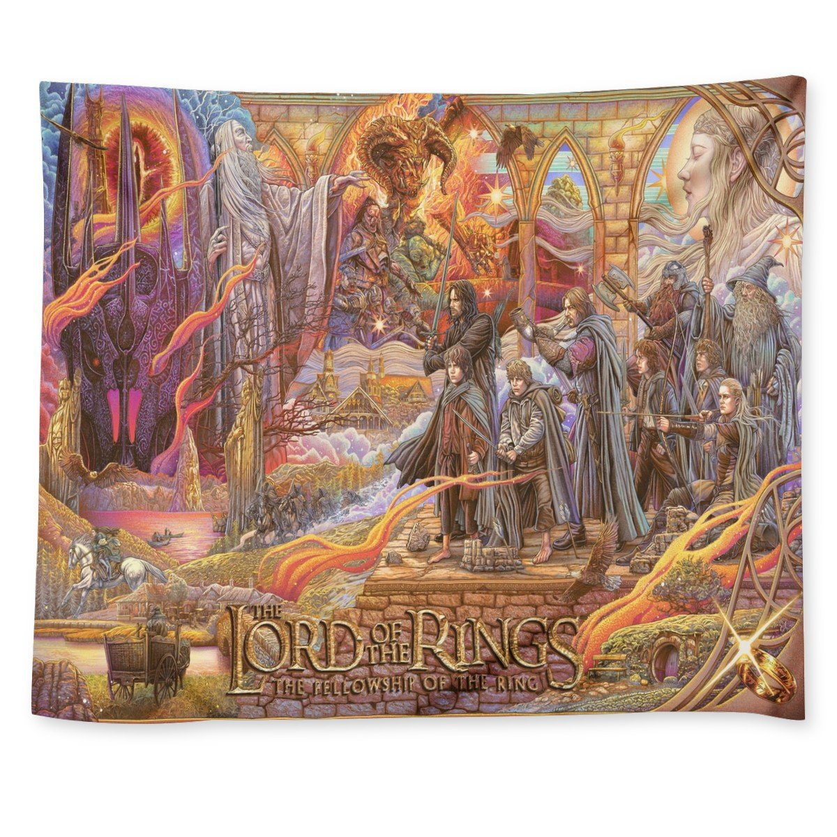 """Lord Of The Rings The Fellowship of the Ring Tapestry 50""""x60"""" Wall Hanging Decor"""