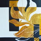 original big modern  abstract gold and black painting