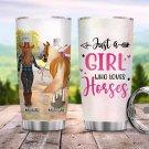 Custom Tumbler Girl Walking With Horse Tumblers Straws Stainless Steel Tumbler Travel Mug