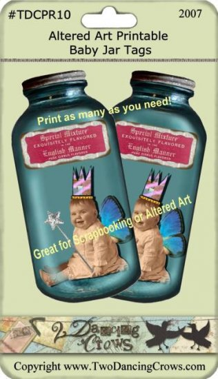 Altered Baby Fairie in Jar Tag Printable