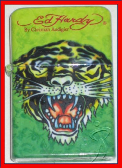 Ed Hardy Cheetah Tiger Lighter Flip Top Tattoo Art