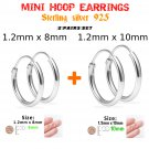 Hoop Earrings Sterling Silver 925 Two Pairs Set 8mm and 10mm. Nose, Lip, Ear, Ring, Piercing.