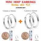 Hoop Earrings Sterling Silver 925 Two Pairs: 10mm and 12mm. Nose, Lip, Ear, Ring, Piercing.