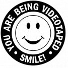Security Warning Vinyl Decal Stickers Car Window Smile You are Being Videotaped