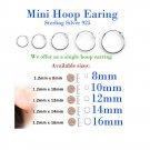 Hoop Earrings Sterling Silver 925 Sizes: 8mm, 10mm, 12mm, 14mm, 16mm. Nose, Lip, Ear, Ring, Piercing