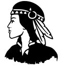 Indian Girl with Two Feathers Vinyl Decal Sticker Native American Symbol Car Laptop Wall Window Boat