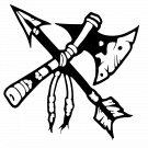 Native American Tomahawk and Arrow Symbol Vinyl Decal Sticker Car Laptop Wall Window Mailbox Indian