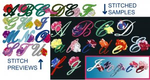 Machine Embroidery Design ALPHABET W/ ROSES