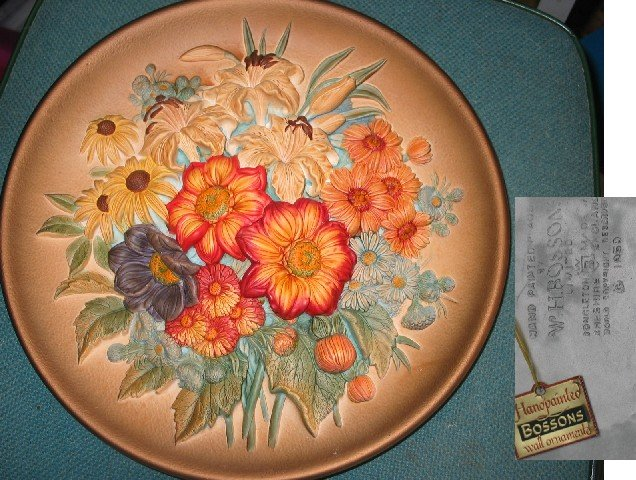 Floral Plate, Hand painted plaque by W.H.Bossons