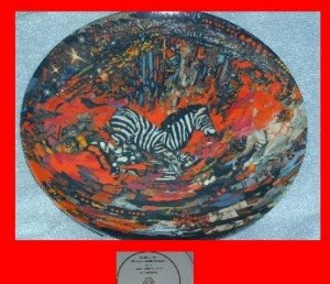 "Lenore Beran Plate ""Horse of a Different Color"" Zebra"