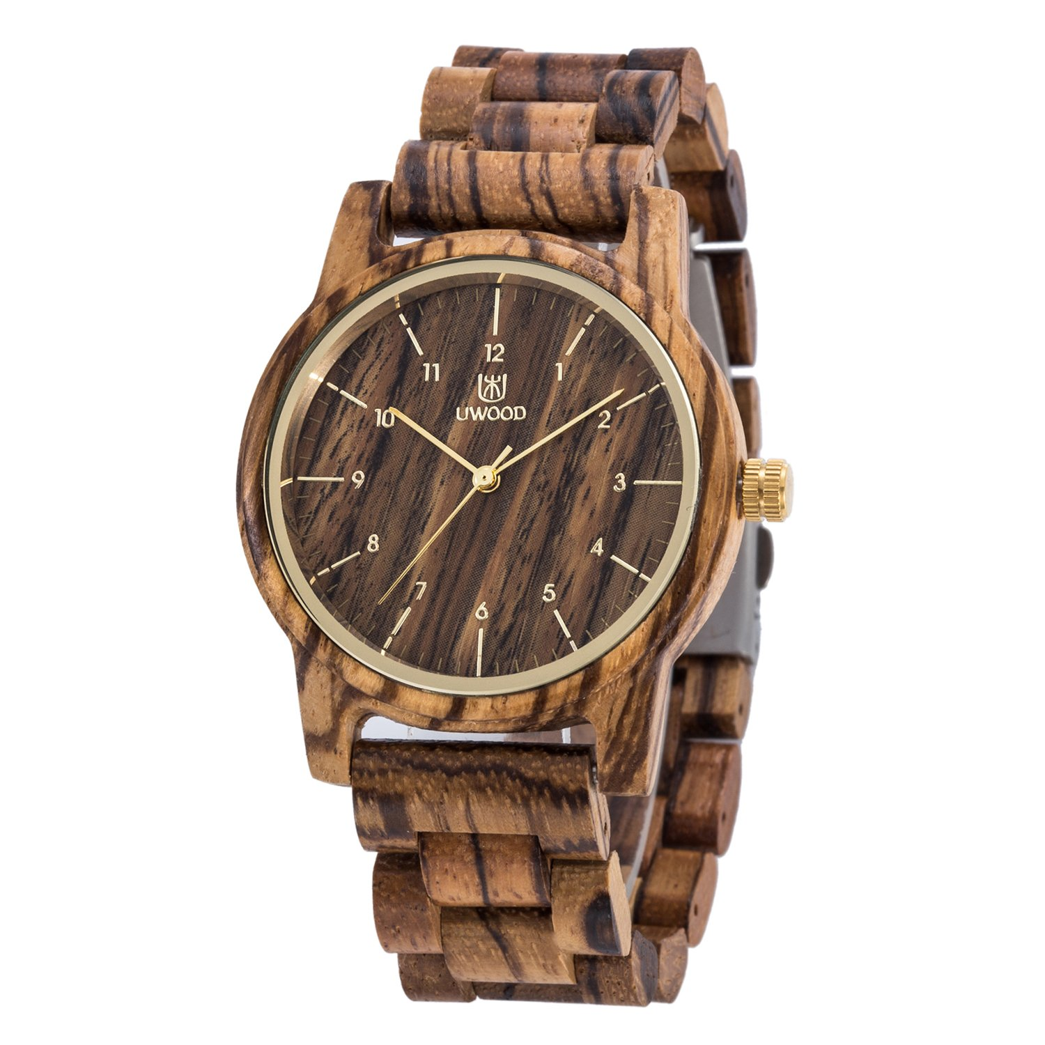 Mens Classic Casual Natural Wood Watch Quartz Wooden Band Gift Giving Wrist Watch Zebrawood