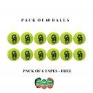 CA Plus 15 k tennis balls - tape balls - Soft balls - Cricket Balls - Practice Ball - Pack Of 60