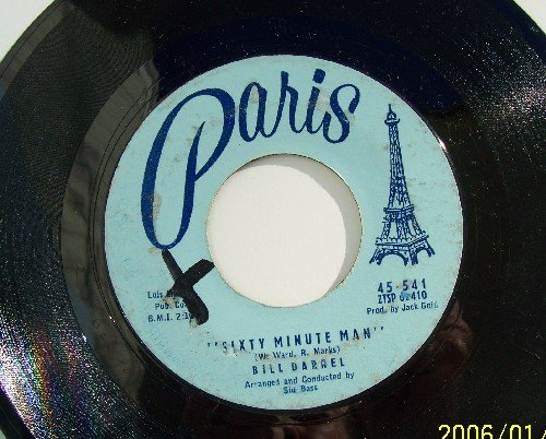 Bill Darnell Sixty Minute Man- A hundred girls Vintage Vinyl record  45rpm  Paris label