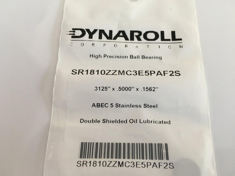 DYNAROLL SR1810ZZ Ball Bearing Abec5 (.3125 x .5000 x .1562) (Lot of 6)