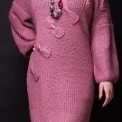 Women's Pink Mohair Dressing Gown Boho Style, Oversized