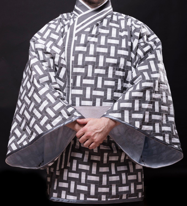 Unisex Haori Kimono Jacket Gray and White, Oversized