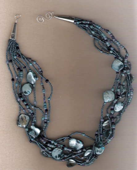 Blue Dyed Mother of Pearl Shell Pieces Multi Strand 20 inch Necklace