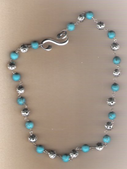 Silver Disc and Turquiose Bead 22 inch Necklace