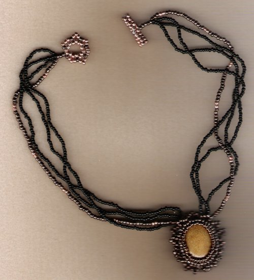 Polymer Cabachaun Beaded Handcrafted 17 1/2 inch Necklace
