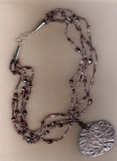 Purple Seed Bead Polymer Clay Pendant Handcrafted 20 inch Necklace