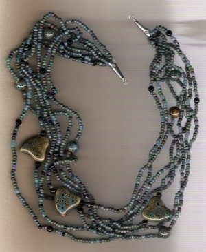 Raku Blue Ceramic Beaded Handcrafted 26 inch Necklace