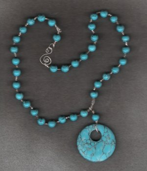 Turquiose Donut handcrafted pendant 23 inch necklace