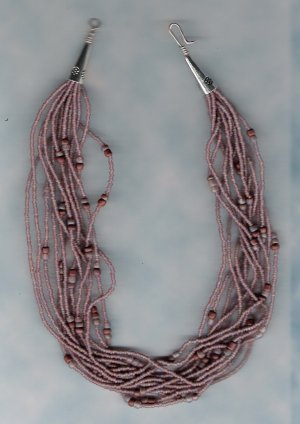 Multi Strand Lilac seed Bead Handcrafted 16 inch Necklace