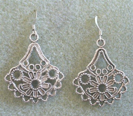 Antiqued Silver French Hook Earrings