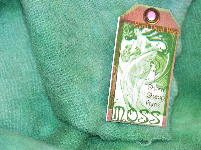 MOSS -  Hand Dyed Lanolin Wool - Rug Hook, Quilt, Penny Rug-Shorn Sheep - Free US Ship