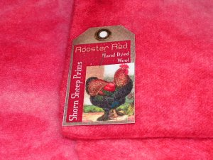 ROOSTER RED - Hand Dyed Lanolin Wool - Rug Hook, Quilt, Penny Rug-Shorn Sheep - Free US Ship