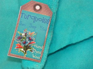 TURQUOISE - Hand Dyed Lanolin Wool - Rug Hook, Penny Rug - Shorn Sheep - Free US Ship - 1/4 YD