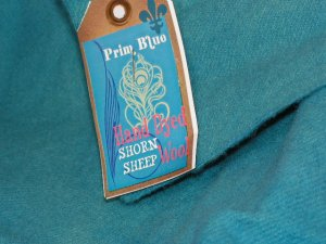 PRIM BLUE - Hand Dyed Lanolin Wool - Rug Hook, Penny Rug - Shorn Sheep - Free US Ship - 1/4 YD