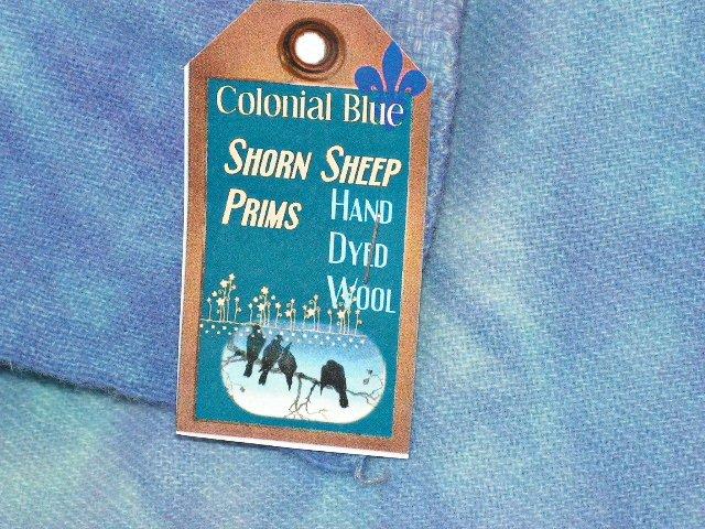 Hand Dyed Rug Hooking Wool w/Lanolin~COLONIAL BLUE~Shorn Sheep~Fat Quarter~FREE US SHIP