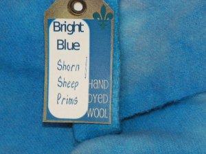 BRIGHT BLUE - Hand Dyed Lanolin Wool - Rug Hook, Penny Rug - Shorn Sheep - Free US Ship QU. YD