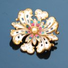 colored rhinestone white enamel goldtone brooch - vintage jewelry