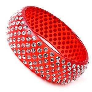 Swarovski Crystal Rhinestone Red Wide Lucite Bangle Bracelet