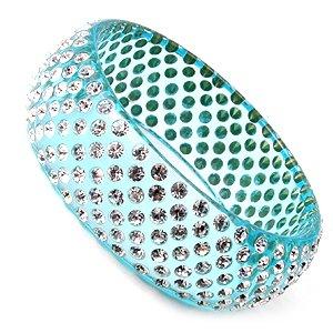 Lt Blue Swarovski Crystal Rhinestone Wide Lucite Bangle Bracelet
