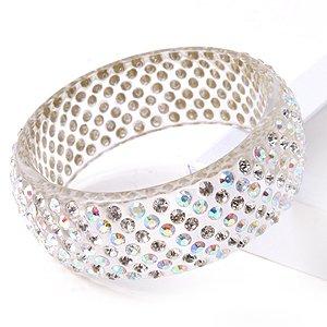 Swarovski Crystal Clear Amp Ab Wide Lucite Bangle Bracelet
