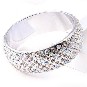 Swarovski Crystal Rhinestone Metallic Silver & AB Wide Lucite Bangle Bracelet